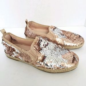 Rose Gold & Silver Reverse Sequin Slip On Loafers